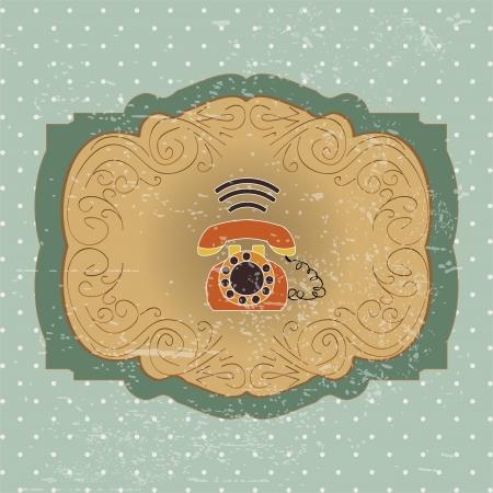 Background with retro telephone. vintage illustration illustration