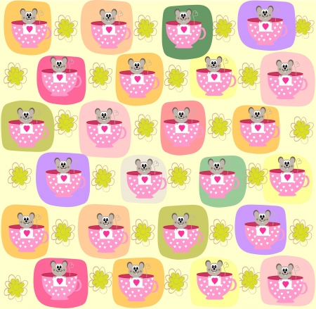 Children seamless pattern with a small mouse photo