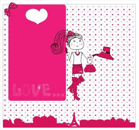 zapatos caricatura: linda chica en el amor en Par�s. tarjeta Foto de archivo