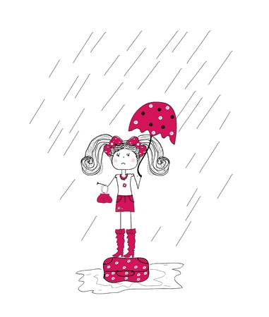 rain and a little girl in a pink dress