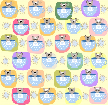 seamless pattern with a small mouse,  illustration