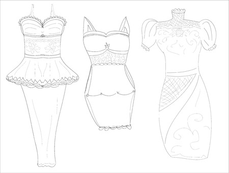 dresssketches of stylish women's dresses pencil art Vector