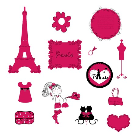 paris. small details in pink. vector