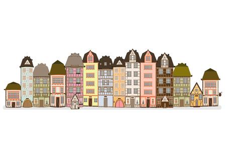 gable: old European street in europe vector