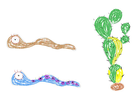 funny worms and cactus vector