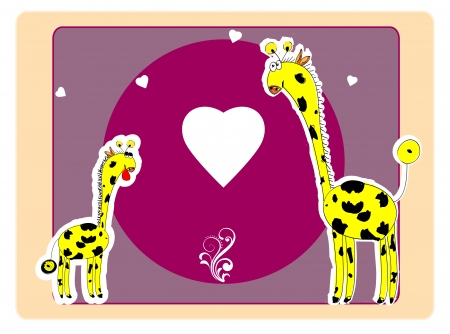 A beautiful card with two giraffes Vector