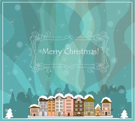 the decor: Tarjeta de Navidad con las casas, vector