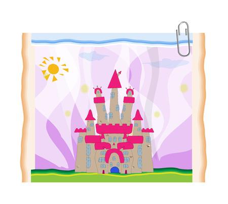 castello fiabesco: FairyTale castello illustrazione. Vettoriali