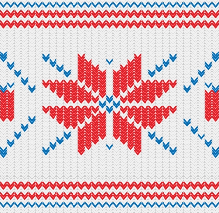 Knitted pattern with a snowflakes Vector