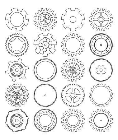 gears silhouette over white background Illustration