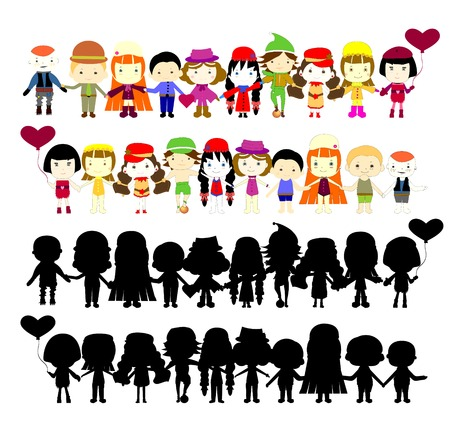 Illustration of collection of simple kids Vector