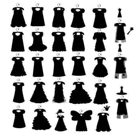 cleavage: Set of dresses silhouette iseamless pattern. vector illustration Illustration