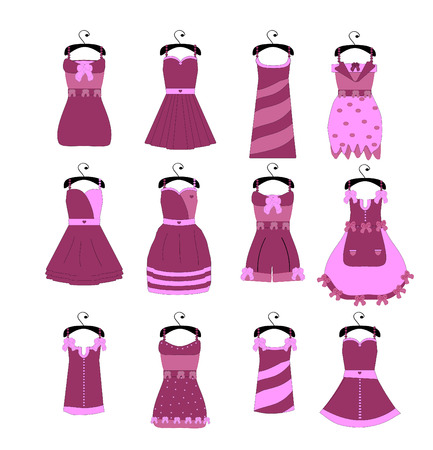 Vector collection of fashionable elegant dresses for girl Vector
