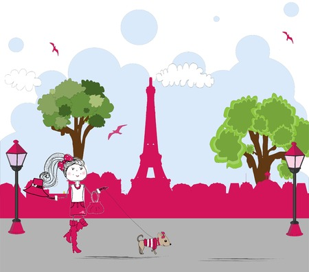 girl with cute little dog in paris. vector Illustration