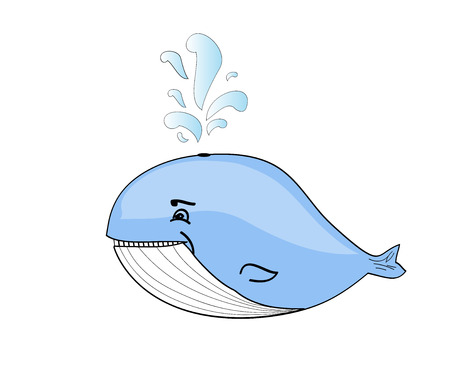 gush: Happy blue whale cartoon