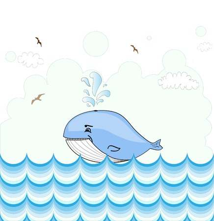 Little illustrated whale  card design Vector