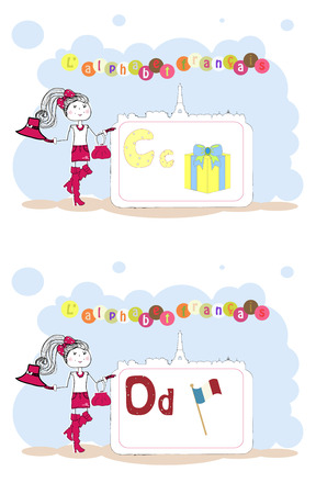 francais: alphabet francais. French alphabet, vector C, D Illustration