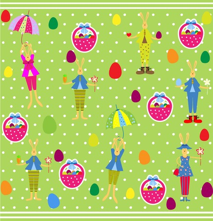 Cute Easter seamless with bunnies and eggs Vector