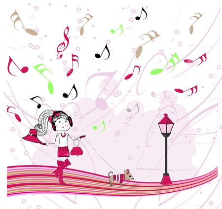 illustration girl listening to music Vector