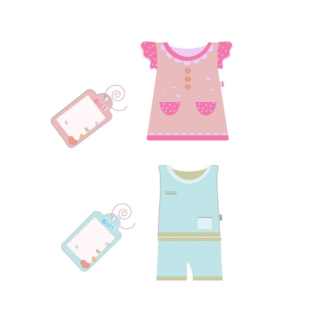 Vector collection of baby and children clothes collection. Vector