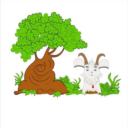 cute tree: Goat Illustration Cartoon art vector cute tree Illustration