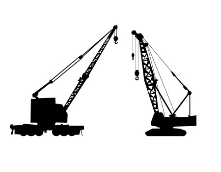 mobile crane: Cranes silhouette vector illusrtation art isolated