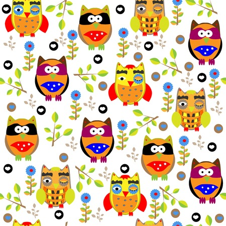 Seamless colorful owl pattern for kids  Vector