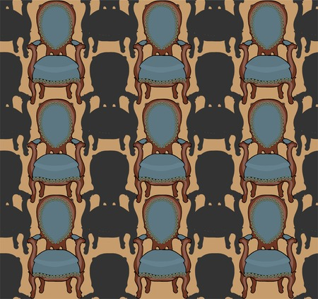Vector pattern with armchairs art illustration cute Vector