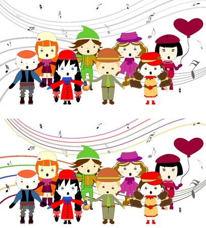 Group of kids singing singing children vector Vector
