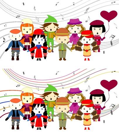 Group of kids singing singing children vector