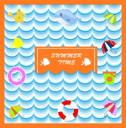 lifeline: summer card with lifeline cut vector art Illustration