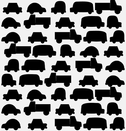 Seamless background of black cars art illustration Vector
