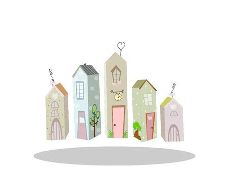 cute little house vector illustration art cute Vector