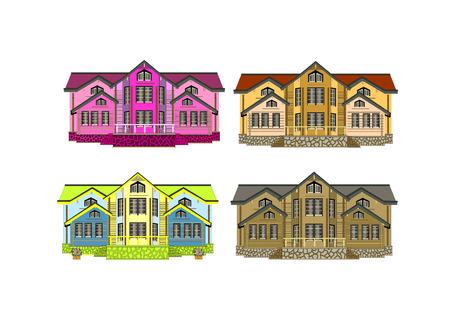 set of four houses with color changes art illustrqtion Vector