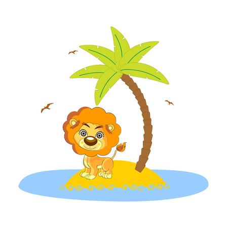 cartoon palm tree: lion under the palm art illustration cute Illustration