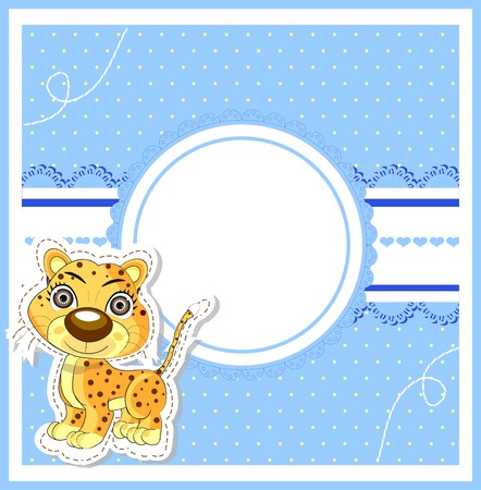 illustration of cute young lion on decorative background - birthday invitation Vector