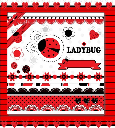 Ladybug Collection vector illustration cute scrapbooking art Vector