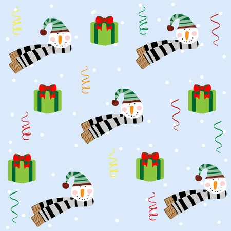 Christmas seamless pattern with snowman Vector
