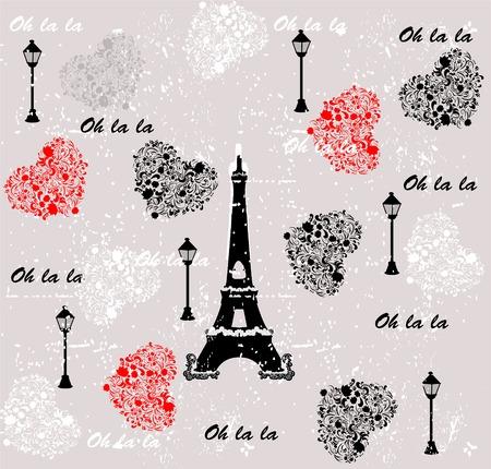 hintergrund liebe: Ich liebe Reisen Muster paris. seamless background. Liebe. Vektor