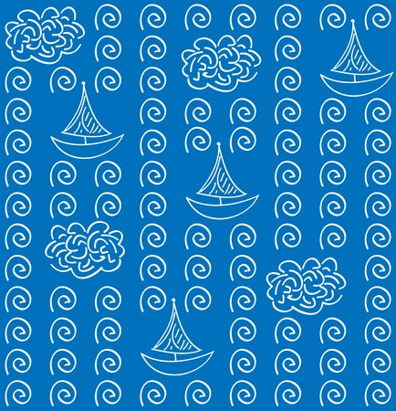 vectoe: Watercolor vectoe blue color seamless pattern  with   ship Illustration