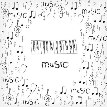 abstract musical background with notes art illustration
