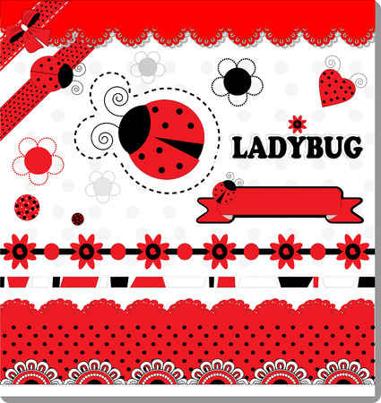 Ladybug Collection Scrapbooking vector art illustration cute Illustration