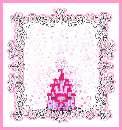 princess castle: Invitation card with Magic Fairy Tale Princess Castle