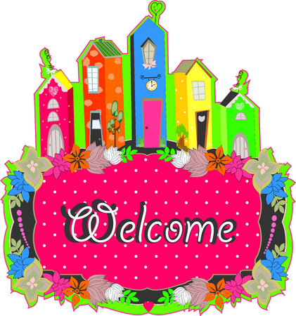 welcome sign design. Welcome to the house bright table