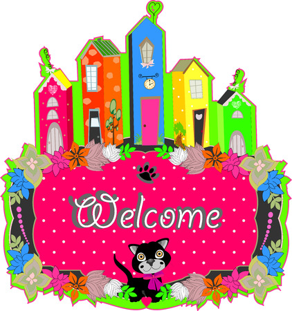 baby cat hold a welcome sign art illustration