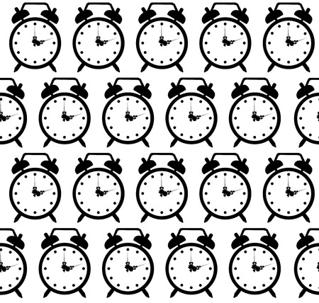 doodle alarm clock seamless pattern background art