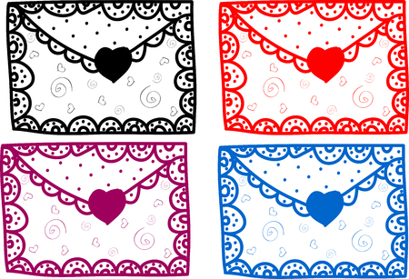 Set of love Valentine message art illustration cute Stock Photo