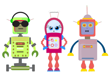 Set of funny cartoon robots art illustration vector