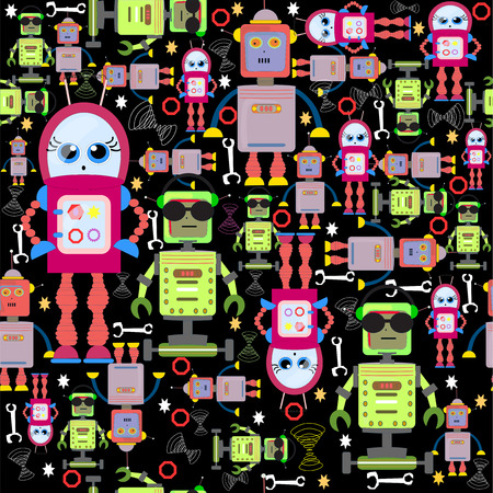Vector Seamless Background Funny Colorful Robots on Black.