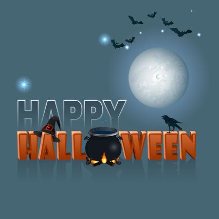 Festive Halloween Card on blue background.